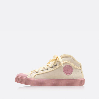 High-top sneakers in beige with pink sole.
