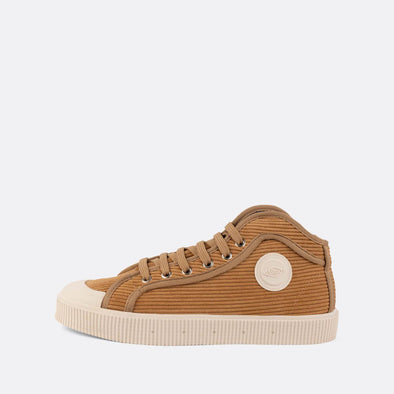 Unisex iconic high-top sneakers in beige corduroy.
