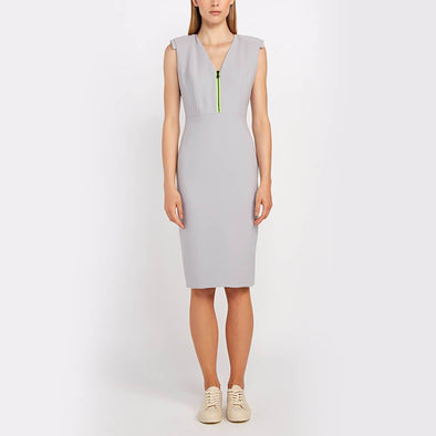 Light grey midi dress with a V-neck and shoulder pads.