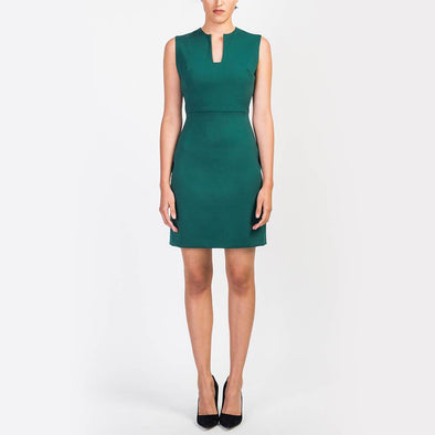 Green short dress with a geometric neckline.