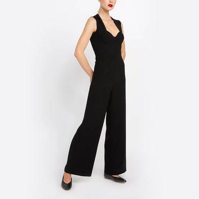 Black jumpsuit with invisible closure at the back.