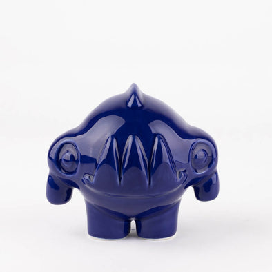 Cobalt blue rhino ceramic piece hand signed by the artist.