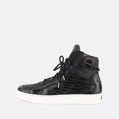 Black leather high top sneakers with chunky white sole and irregular texture engravings.
