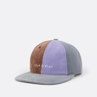 Label cap in grey, green, lilac and brown.