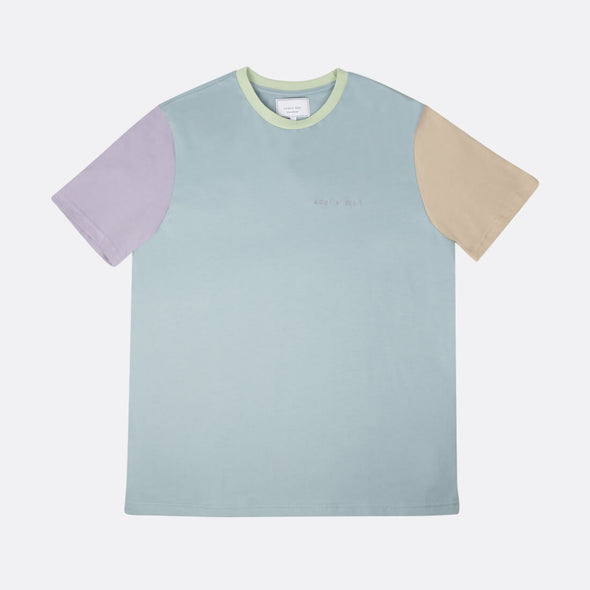 Relaxed fit color combo t-shirt in green blue purple and beige.
