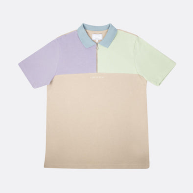 Relaxed fit polo with color combo in beige purple green and blue with front zip and chest cut.