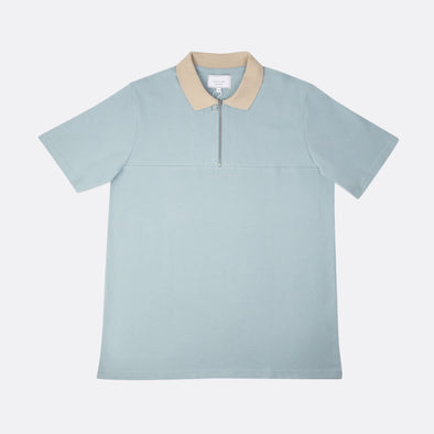 Relaxed fit polo with color combo in blue and beige with front zip and chest cut.