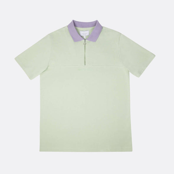 Relaxed fit polo with color combo in green and purple with front zip and chest cut.
