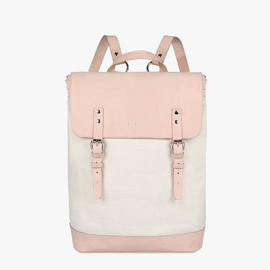 Minimalist boxy backpack in off-white canvas with nude leather flap and two buckle straps
