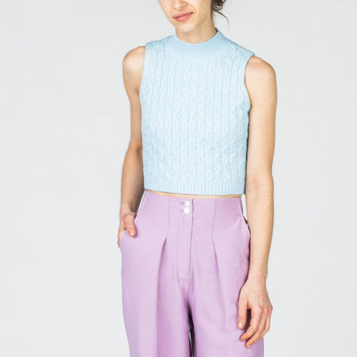 Sky-blue sleeveless high neck chunky knit.