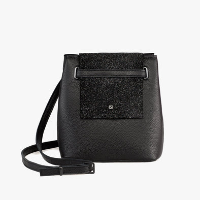Bucket-style mini bag in black leather with glittery fold flap and buckle strap that can be adjusted