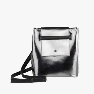 Bucket-style mini bag in silver leather with fold flap and buckle strap that can be adjusted