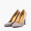 Grey pumps in suede with a faceted high heel