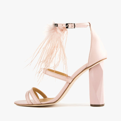 Strappy sandals in rose pink leather with feather applique and faceted high heel