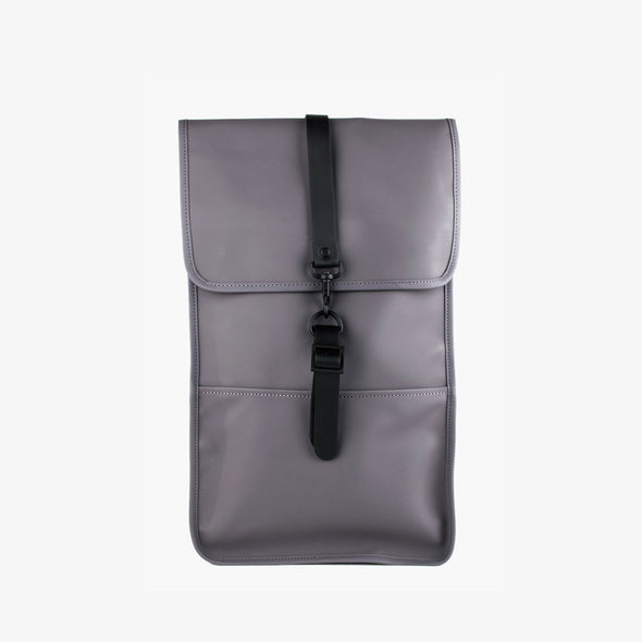 Boxy minimalist backpack in smoke grey synthetic with a single metallic black hook clasp