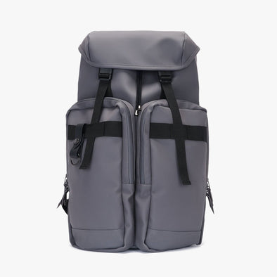 Functional large backpack in smoke grey waterproof textile with two exterior pockets