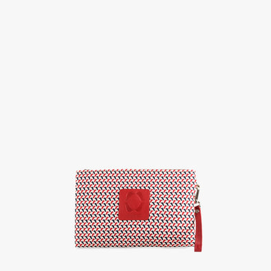 Rectangular clutch in white textile with red and blue tiny bird pattern, zip closure and small red leather detail on the front