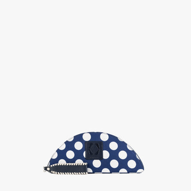 Half-moon clutch in dark blue textile with white large polka dots and zipper
