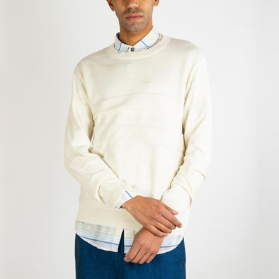Off-white stripped cotton and cashmere knit sweater.