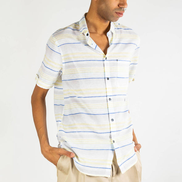 White short sleeved shirt with blue and yellow stripes and black buttons.