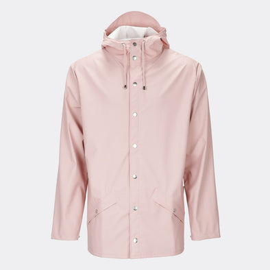 Rose functional and unisex rain jacket with a casual fit, featuring an adjustable hood with a practical cap function.