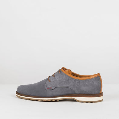 Derby-style shoes in grey suede with lined texture heel and white rubber sole