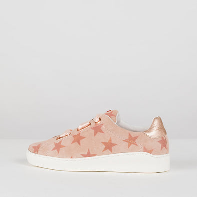 Classic sneakers in nude with a star print patten and nude silk ties and white rubber sole and metallic heel tab