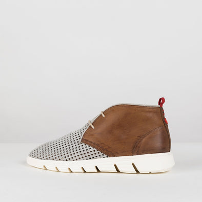 Chukka-style runners with upper in brown leather and grey perforated suede body and white rubber sole