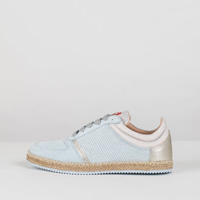 Low sneakers in soft blue suede with perforated sude panel, metallic leather and grey suede details and raffia details