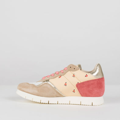 Runners in paneled design with tiny flower print, beige and pink suede panels and metallic golden heel tab
