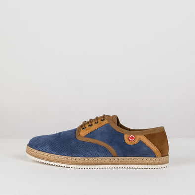 Derby-style casual sneakers in a combination of blue perforated suede, brown suede, camel leather details and raffia sole