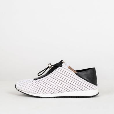 White mesh sneakers with both black leather tongue and foldable ankle.