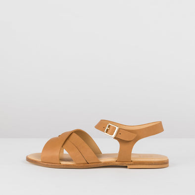 Cross-strap sandals in camel leather with ankle buckle
