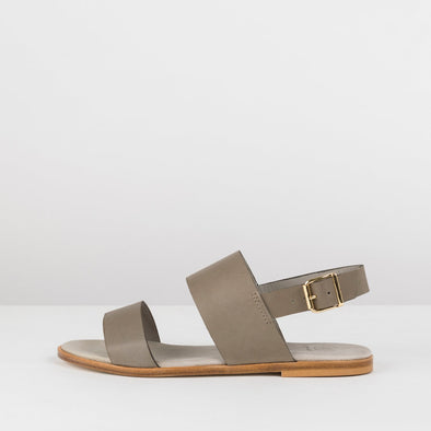 Double-strap sandals in military green leather with ankle buckle