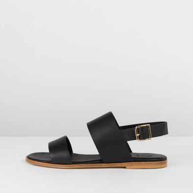 Double-strap sandals in black leather with ankle buckle