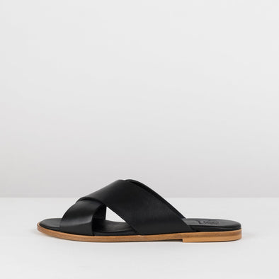 Simple slide sandals in a cross-strap design in black leather