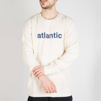"Ivory sweatshirt with ""Atlantic"" printed in navy blue."
