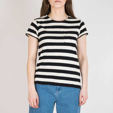 Black and ivory striped t-shirt with short sleeves, round neck and '+351 small pocket on the front.