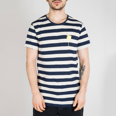 Dark blue and ivory striped t-shirt with short sleeves, round neck and a golden palm tree printed on the front.