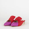 Red suede and  violet pink mestizo leather mules with architectural heel.