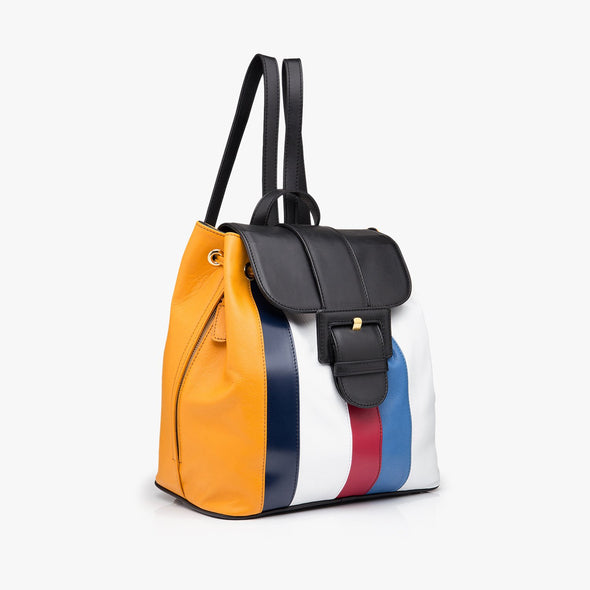 Retro-style backpack with drawstring and flap closure in yellow, blue, black, white and bordeaux striped leather