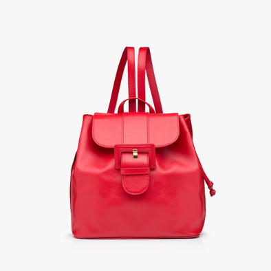 Retro-style backpack with drawstring and flap closure in red leather