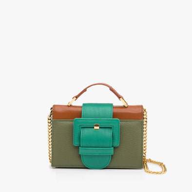 Structured mini bag in multi-colored leather, with military green body, camel brown panel and handle, large aquamarine green buckle, and detachable golden chain shoulder-strap