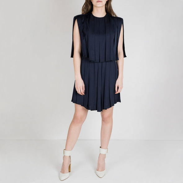 Navy blue regular fit pleated dress in the back and at the front.