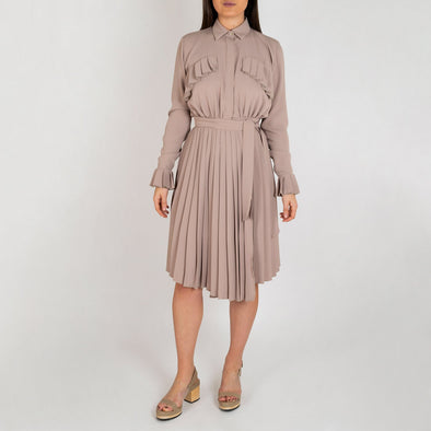 Regular fit nude shirt dress with pleated chest and belt.
