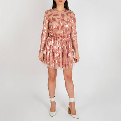 Regular fit see-through pink sequins dress.