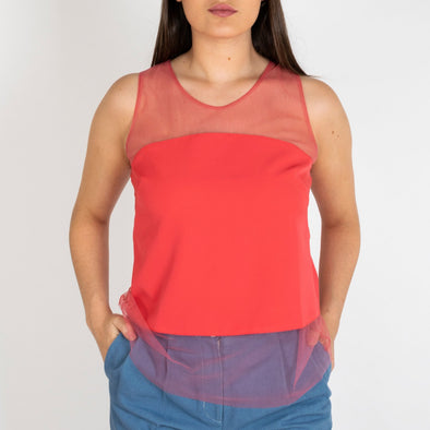 Tule top with a coral opaque panel.