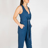 High waisted comfortable jumpsuit with side pockets invisible zip at the front.