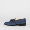 Loafers in navy blue suede with apron toe and double-tassel