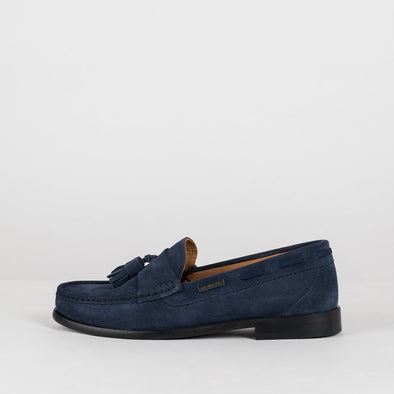 Classic moccasin loafers in navy blue suede with two tassels
